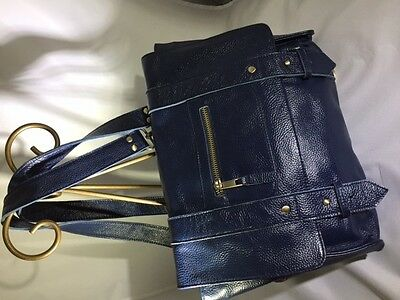 NWOT Vere Verto Pebbled Navy Leather Convertible Backpack Handbag Messenger