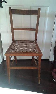 Old Wooden Chair with Rattan Seat