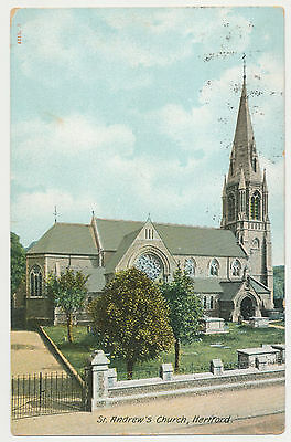 Antique Postcard - St Andrew's Church, Hertford - 1910