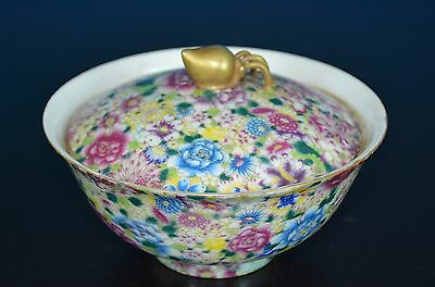Delicate Antique Chinese Famille Rose Porcelain Bowl Marked Qianlong Rare K7723