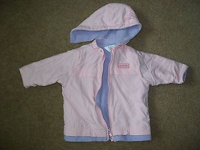 girls pink / lilac reversible coat / jacket with detachable hood   approx 1 yr