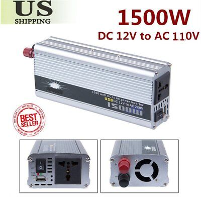 1500W 12v DC TO 110v AC car truck automotive POWER INVERTER Converter 50HZ USA H