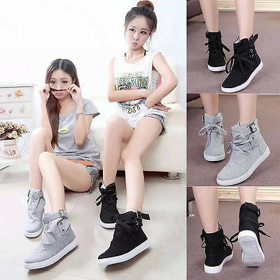 Women Ladies Buckle Strap Hiking Flats Lace Up High Top Sports Sneakers Shoes
