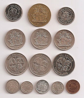 Iceland 14 X Coins Various Types,Metals & Dates 1940 - 2011 nice coins