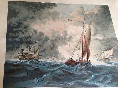 Rough Sea With Sailing Ships Gobelin/tapestry/Needlepoint Handmade By Wiehler