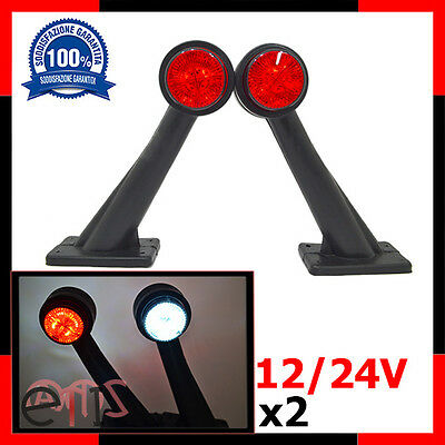2 X Luce A Led Laterale 8 Led Ingombro 12 24V Rosso Bianco Camion Shassis Marche