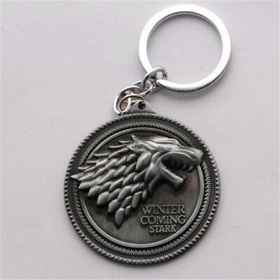 HBO Game of Thrones House Stark Head Pendant Metal Keyring Keychain silver ♫