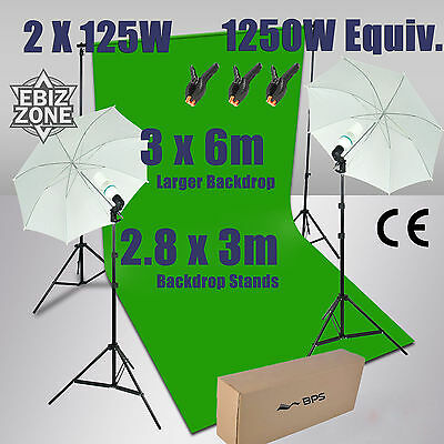3.2*6m Chromakey Green Screen Lighting with Backdrop Background Stand umbrella