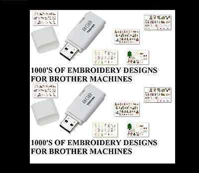 New Brother Cards 1- 66 Embroidery Designs On Usb Pes Format J28Dc