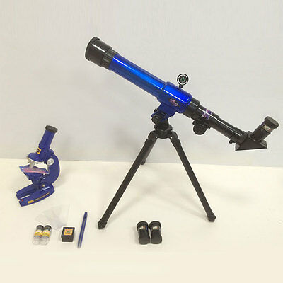 2 In 1 Telescope Microscope Set Science Educational Astronomy Learning Kids