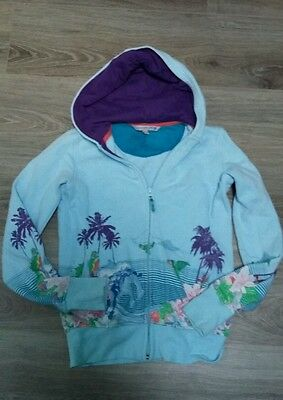 FATFACE girls light blue zip up hoody, tropical design, age 12/13
