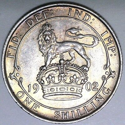 1902 Edward Vii Shilling. Good Extremely Fine, Nice Toning  Coin S403