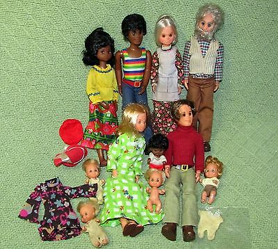 Vintage SUNSHINE FAMILY Lot 11 Dolls Grandparents African American Shoes Clothes