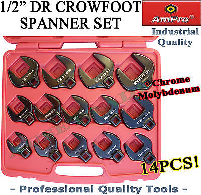 """AMPRO 1/2"""" CROW FOOT SPANNER SET WRENCH QUALITY TOOLS UP TO 50mm SPECIAL METRIC"""