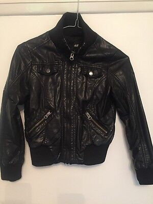 H And M Leather Look Bomber Jacket Age 8-9