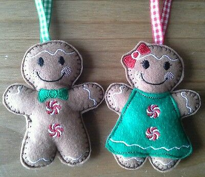 Homemade Felt Gingerbread Boy And Girl Tree Decoration Christmas  Ornaments