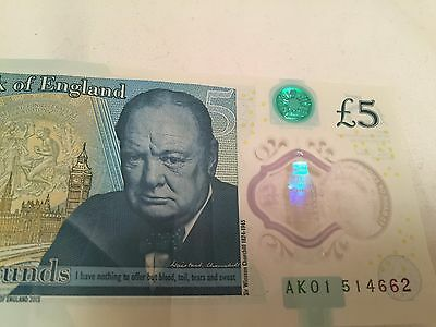 AK 01 1 Bank of England Polymer £5 five Pound Note Genuine New Notes