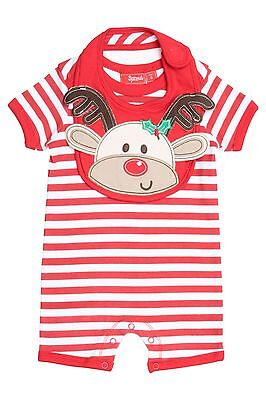 Brand New SPROUT Stripe Romper And Reindeer Bib Set - Size 00