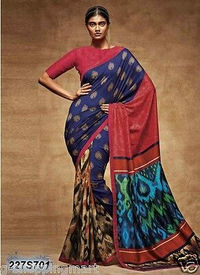 Poly Silk Bollywood Saree Party Wear Indian Ethnic Pakistani Designer Sari Dress