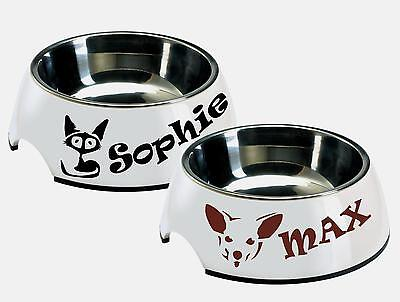 2x Personalized Name Dog Cat Pets Bowl Basket Bed Vinyl Decal Sticker Waterproof