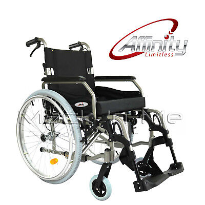 "Wheelchair Folding Aluminium Manual 24"" wheels Pneumatic Tyres Brakes Alloy"