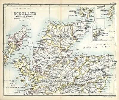 Original 1896 Map Northern SCOTLAND Aberdeen Dundee Inverness Orkney Islands