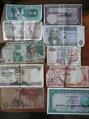 Collection of 10 Foreign Banknotes Money