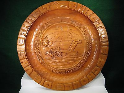 ANTIQUE/VINTAGE CARVED WOODEN GERMAN BREAD PLATE - BOARD - TREEN-BROT  A. Methe