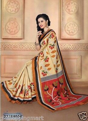 Cotton Silk Printed Bollywood Saree Party Wear Indian Pakistani Designer Sari