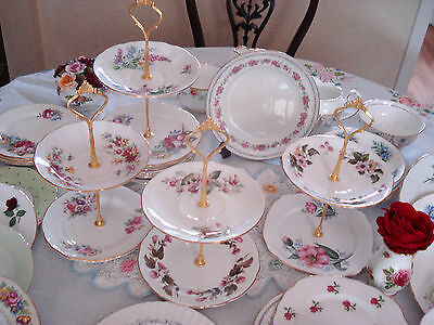 Beautiful 2 Tier Cake Stands.sets Of Four..made With Pretty Vintage Plates