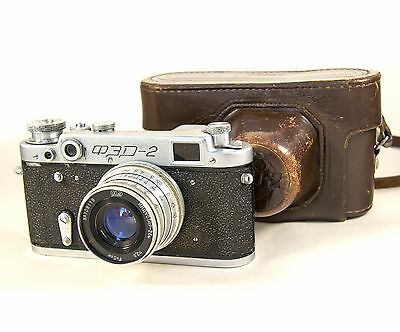 Vintage USSR Photo camera FED 2 based Leica with cover #847559