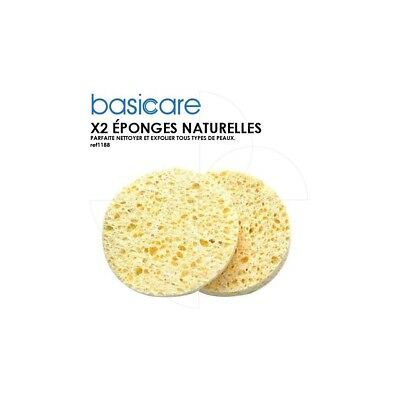 Basicare - Lot de 2 éponges naturelles 7,5cm de diamètre