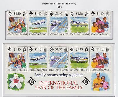 Solomon Islands '94 International Year of the Family' Stamp Strip of 5, M/S U/M