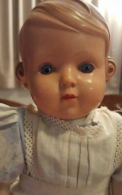 """Antique original Inge celluloid and cloth German doll 11"""""""