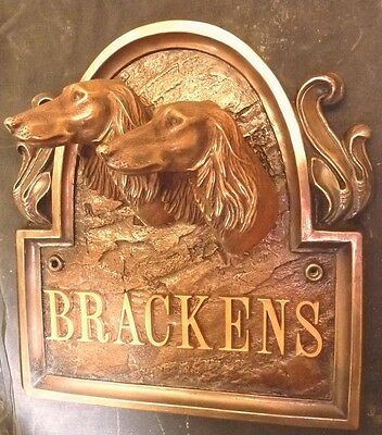 Twin Saluki Dog Arched Bronze Sign  Plaque Bust Head Figurine K9 Art Sculpture