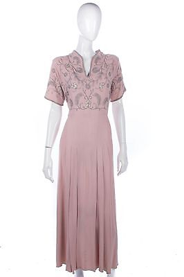 Dusky pink crepe vintage 1940's embroidered dress