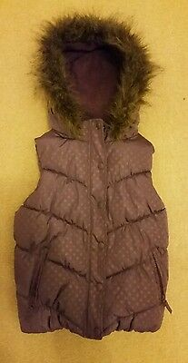 Girls John Lewis Purple Hooded Gilet With Fur Trim  Body warmer Age 8 Years