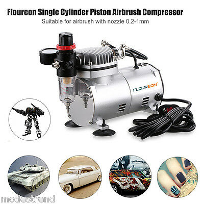 Single Cylinder Piston Airbrush Compressor Spraying Painting 1/6HP 57 PSI Nozzle