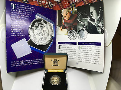 Great Britain 1 Pound 1999 Silver Proof Scottish Lion Frosted Reverse with Box