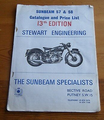 Sunbeam S7 & S8  catalogue & price list -13th Edition - Printed Oct 1973