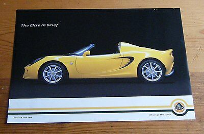 Lotus Elise and Exige 2005 One Pager Sales Brochures Elise 111S 111R sports cars