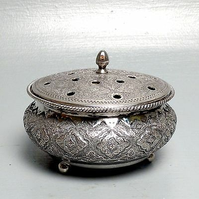 Old Persian or Egyptian Solid Silver Covered Potpourri Bowl - Middle Eastern SL
