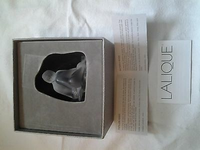 Signed Lalique Crystal Nude Sitting Female Figurine With Box