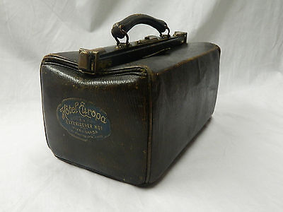 RARE SMALL VINTAGE 1900s LEATHER GLADSTONE BAG FABULOUS CONDITION EDWARDIAN