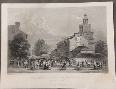 1800's Steel Engraving, Old State House, Philadelphia, Rogers