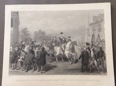 1800's Steel Engraving, Entrance Of American Army To NY, Chapin/Greatbach