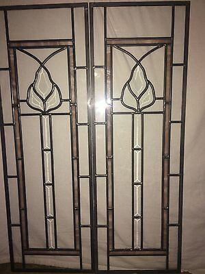 Pair of Beveled Stained Glass Door Sidelights or Window Hangings 30.25 X 9.25