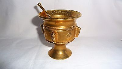 Antique Solid Heavy Brass Apothecary Brass Mortar and Pestle Pharmacy Vintage