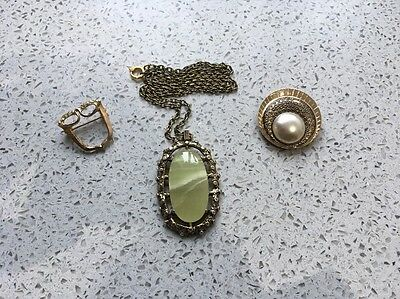 Mixed Selection Of Vintage Gold Costume Jewellery