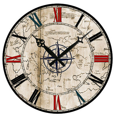 Vintage Style Wooden Wall Clock Round Rustic Kitchen Shabby Chic Home Decoration